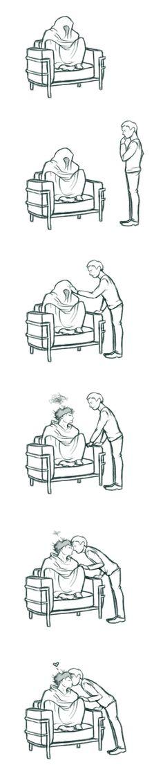 """It's you, John Watson. You keep me right."" -- cute JohnLock fanart cartoon by anotherwellkeptsecret"