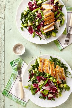Breaded Pork Cutlet with Avocado-and-Shredded Kale Salad  - CountryLiving.com
