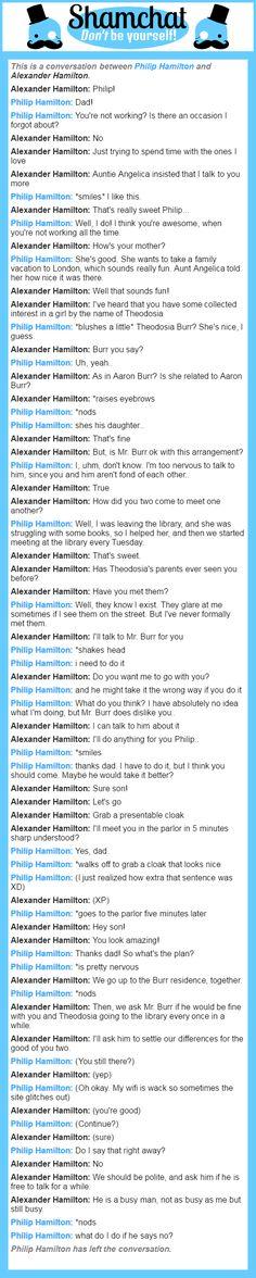 A conversation between Alexander Hamilton and Philip Hamilton  My roleplays as A. Ham