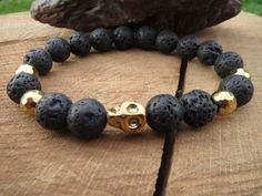 Hematite Skull Bracelet Black Lava Stone Men by BohemianChicbead
