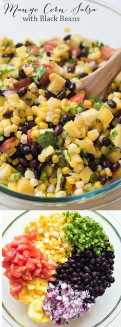 Fresh ingredients combine to create this colorful Mango Corn Salsa with Black Beans from Valerie's Kitchen.