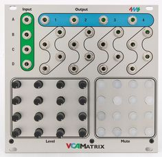 The VCA Matrix from 4ms is a playable 4x4 matrix of 16 VCAs.    Four CV or audio inputs can be routed in any amount/combination to four outputs, using the 16 CV control jacks, Level knobs, and Mute buttons.
