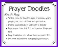 printable prayer card for using doodling in prayers