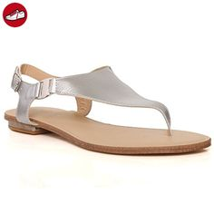 Angkorly Damen Schuhe Sandalen Mule - Plateauschuhe - Linien - Spitze - String Tanga Keilabsatz High Heel 8 cm - Beige YS430 T 38 NGjGtO