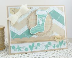 A card I made using the new November release at MFT called Stitched Stockings and Darling Dots.
