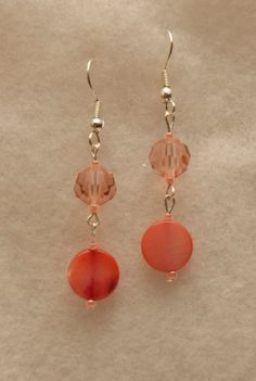 Swarovski Crystal and Shell Earrings in Coral by HandmadeWLove478, $13.00