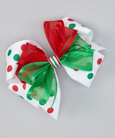 Red & Green Polka Dot Bow Clip | zulily