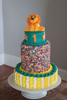 Circus first birthday cake for my nephew! Circus Party. Circus Cake. Lion Cake Topper. Fondant