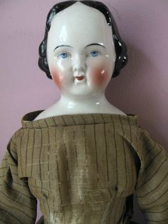 Lovely 19C Antique Large 1860s CHINA Head Doll wearing 100% Original Clothing