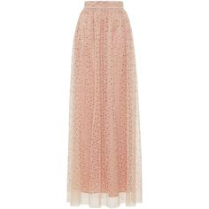 Luisa Beccaria Embroidered Eyelet Long Skirt (31,965 MXN) ❤ liked on Polyvore featuring skirts, bottoms, neutral, red maxi skirt, red pleated skirt, embroidered maxi skirt, tulle maxi skirt and red skirt