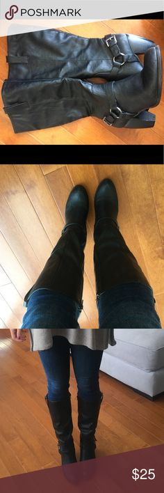**SALE!!** Black calf length boots Black calf length boots with zipper closure and buckle detail. Great shape. Only worn a couple of times. Size 6. Perfect fall/winter boot ! Style & Co Shoes Heeled Boots