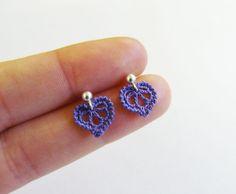 Corazón púrpura miniatura Crochet zarcillos