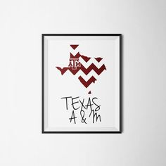 Custom Texas map with A&M logo and color overlay. Able to customize in many different ways. https://www.etsy.com/listing/216460156/limited-edition-texas-custom-print-texas