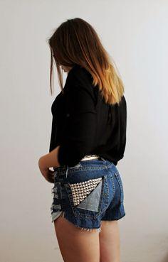 MYOFS: Another DIY denim shorts/ heels / outfit / vintage belt/ balenciaga bag look alike