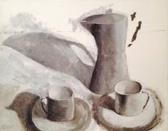 """""""Coffee Pot and Cups""""  Acrylic on Canvas / Black and White"""