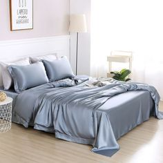 30 Momme Silk Sheets, Pillowcases, Duvet Covers & Bed Skirts Silk Sheets, Flat Sheets, Silk Bedding, Bedding Sets, Bed Skirts, California King, Pillowcases, Duvet Covers, Light Blue