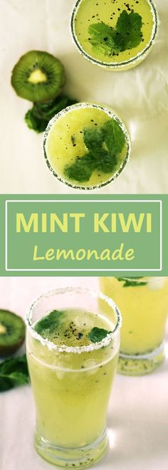 Mint Kiwi Lemonade is refreshing drink and perfect for summer days. Give a new avatar to your ordinary lemonade with twist of kiwi fruit. Remember a simple equation. 1 KIWI = 3 ORANGE + 1 APPLE