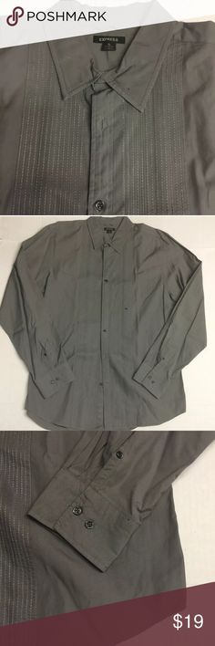 Express Mens Button Down SHIRT Long Sleeve Gray XL Express -  Mens Button Down Shirt Long Sleeve - Gray  XL. Excellent condition. No stains, no rips. Dry cleaned! Express Shirts Casual Button Down Shirts