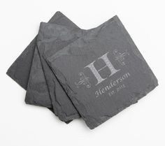 Personalized Slate Coasters, Custom Engraved Slate Coaster, Monogram, Personalized Coaster, Personalized Wedding Gift, Housewarming Gifts D2 by Engravablecreations on Etsy https://www.etsy.com/listing/252988780/personalized-slate-coasters-custom