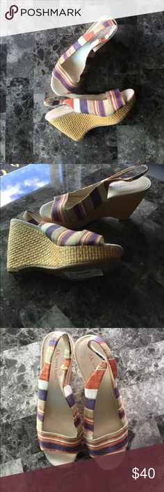 Striped Wedges by Anne Klein I am selling these beautiful Anne Klein wedges.  They are NWT so in perfect condition!  The stripes are purple, tan, white, and red.  They are a 7M. Anne Klein Shoes Wedges