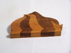 wooden animal puzzle  penguins scroll saw cut by BasketsByDebi