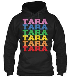 Tara Rainbow Colors Black Sweatshirt Front
