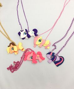 My Little Pony Necklace - Pinkie Pie Necklace - Rarity Necklace - Fluttershy Necklace - Applejack Necklace - Twilight Sparkle Necklace by PunkInPink on Etsy https://www.etsy.com/listing/480853569/my-little-pony-necklace-pinkie-pie