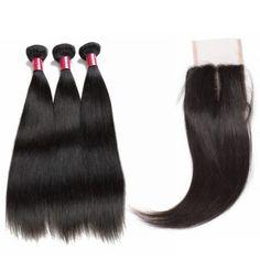 8A virgin Peruvianstraight  hair 3bundleswith closure natural black$51.17