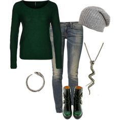 """""""Fall Casual, Slytherin Style :)"""" by sweetsillychic on Polyvore"""