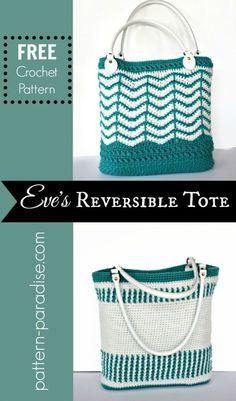 Free crochet pattern for reversible tote bag by pattern-paradise.com #crochet #patternparadisecrochet #tote #bag #redheartyarns #redheartjoycreators