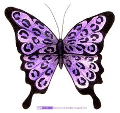 Tattoos And Doodles Violet Leopard Butterfly Amp Tribal Bild Tattoos, Up Tattoos, Body Art Tattoos, Cool Tattoos, Tattoo Art, Tatoos, Pretty Tattoos, Beautiful Tattoos, Purple Butterfly Tattoo