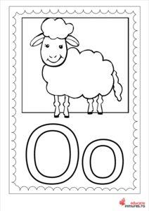 Litera O -Planșă de colorat Lego Activities, Learning The Alphabet, Montessori, Snoopy, Teaching, Fictional Characters, Roman, Baby, Double Deck Bed