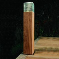 Beacon Illuminated Timber Bollard 132.  Overall height 740mm.   132mm Glass Cube. 170mm sq Base.