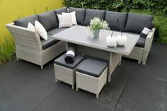 Classic Dining Lounge Sitzgruppe Dining lounge suite with aluminum frame hand-woven with easy-c Diy Couch, Diy Pillows, Cushions, Lounge Suites, Garden Steps, Outdoor Furniture Sets, Outdoor Decor, Exterior, Dining