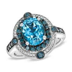 Blue Topaz + Blue and White Diamond Ring