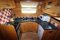Narrowboat Kitchen, Narrowboat Interiors, Barge Interior, Interior And Exterior, Narrow Boat, Canal Boat, Floating House, Houseboats, Boat Design