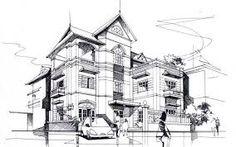 bài vẽ nét mực số 2 nhà ở ghép hộ 2 tầng - Tìm với Google
