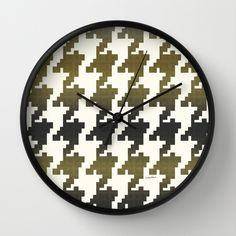 The Houndstooth Vault Wall Clock by Vikki Salmela #graphic #gold #black #houndstooth #art on wall #clocks for #office #home #fashion #decor #accessory in #kitchen #studio #apartment #gift