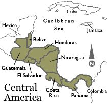 Map of Central America.  Learn Spanish with Online Trainers.. www.online-trainers.com