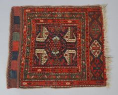 Antique-c1900-Middle-Eastern-Tribal-Bag-Face-Oriental-Throw-Rug-25-x-19-3-4