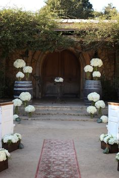Hydrangeas, with rope wrapped vases on top of barrels or stacked boxes/crates at front and in boxes in between the oyster shells