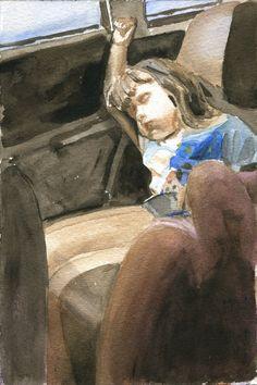 "Snoozer - Figurative watercolor portrait by Byron Taylor - 9x12"" - www.byrontaylor.com - Fine Art blog at http://btsculptor.blogspot.com/"