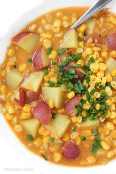 8-ingredient healthy Vegan Corn and Potato Chowder! Super easy weeknight meal, and one of my husband's favorite recipes!