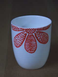 Zen Doodle flower on coffee mug #handpainted #ceramic #mug