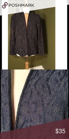 Coldwater Creek Blazer Coldwater Creek Blazer. Deep purple color with subtle gold pattern.  Eyelet closure in front. 72% Polyester/21% Rayon/7% Acrylic.  Lovely jacket. In very good condition. Coldwater Creek Jackets & Coats Blazers