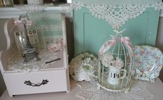Vintage pink and green vignette.
