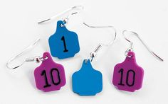 Ear Tags Direct carries a full line of livestock identification products as well as the ever-popular ear tag earrings. Showing Cattle, Showing Livestock, Show Cows, Ear Tag, Cowgirl Bling, Ffa, Western Jewelry, Thing 1, Cow Ears