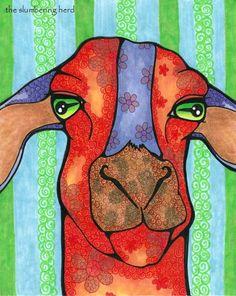Orange Goat Original Art Bright Colors OOAK by TheSlumberingHerd