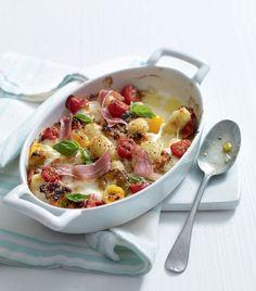Cheesy gnocchi with parma ham recipe Ham Recipes, Veggie Recipes, Italian Recipes, Dinner Recipes, Cooking Recipes, Sandwich Recipes, Free Recipes, Recipies, Gnocchi Dishes