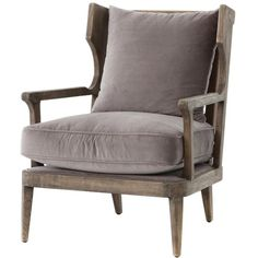 Ichabod Rustic Lodge Grey Brown Wood Plush Arm Chair ($1,116) ❤ liked on Polyvore featuring home, furniture, chairs, accent chairs, wood armchair, hand carved furniture, wooden accent chairs, timber furniture and hand carved wood furniture